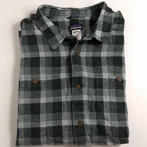 Patagonia Gray Plaid Shirt Large Organic Cotton